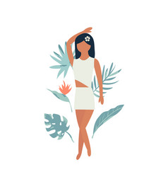 Summer poster with pretty girl and tropical leaves vector