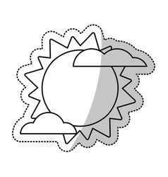 Sun cloud weater symbol cut line vector