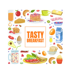 tasty breakfast banner template with tasty morning vector image