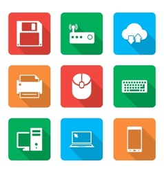 Technology Icons Set with with shadow vector image