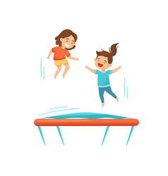 two cheerful girls jumping on trampoline children vector image