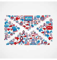 US election icons mail shape vector image