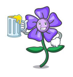 With juice periwinkle flower mascot cartoon vector