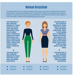 Woman dress code infographic vector