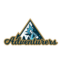 adventure logo mountain landscape forest hand vector image vector image