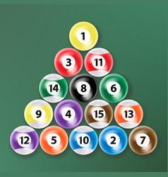 Billiard ball set realistic isolated vector