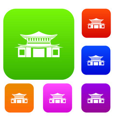 chinese set color collection vector image vector image
