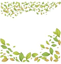 Green leaves frame for spring design vector image