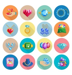 Precious Jewels Icons Flat vector image