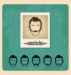 set of faces with mustaches vector image