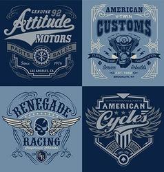 Vintage motorsport emblem graphic set vector