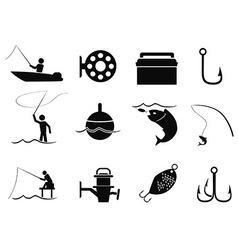 black fishing icons set vector image