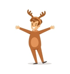 Boy In Raindeer Outfit Dressed As Winter Holidays vector image