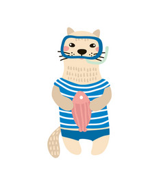 cute cat boy hand drawn vector image