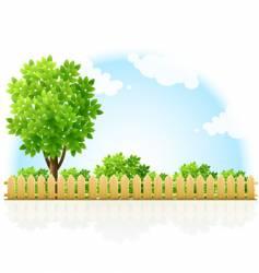 fenced garden vector image vector image
