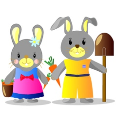 bunnies with carrots and shovel b vector image