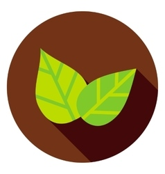 Green leaves circle icon vector