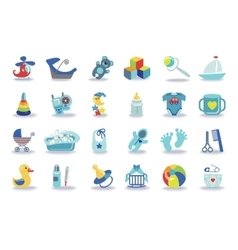 Newborn Baby boy icons setBaby shower kit vector image vector image