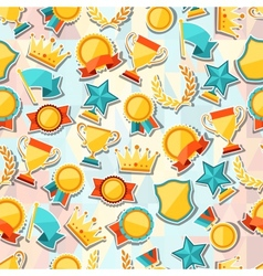 Seamless pattern with trophy and awards stickers vector