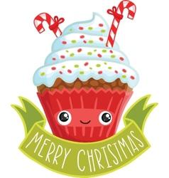 Smiling cupcake vector image