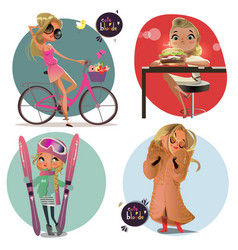 cute cartoon blonde girls vector image