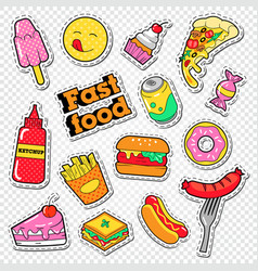 fast food stickers badges and patches with burger vector image vector image