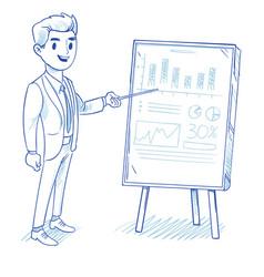 happy businessman explains product sales chart vector image vector image