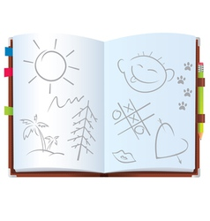 Notepad with pictures vector image
