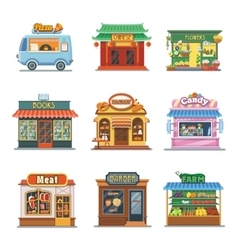 Set of nice showcases of shops Pizza trailer vector image vector image