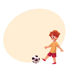 teenage caucasian boy kicking football ball at vector image vector image