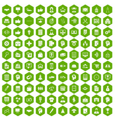 100 business strategy icons hexagon green vector