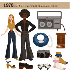 1970 fashion style man and woman personal objects vector