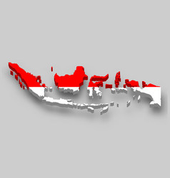 3d isometric map indonesia with national flag vector