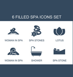 6 spa icons vector