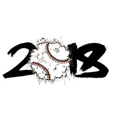Abstract number 2018 and baseball vector