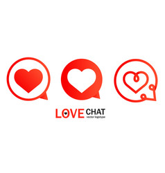 Abstract with red heart chat logo vector