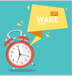 Alarm clock with bubble speech card vector