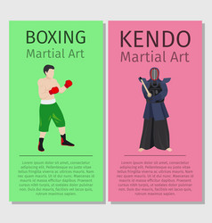 Asian martial arts boxing and kendo vector