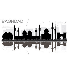 Baghdad city skyline black and white silhouette vector