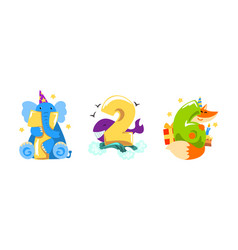 birthday anniversary numbers with cute animals set vector image