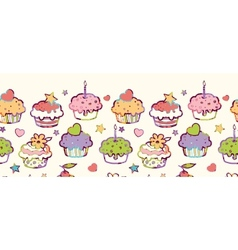 Birthday muffins horizontal seamless pattern vector image