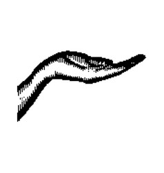 black 8-bit human hand vector image