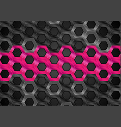 black and pink glossy hexagons metallic texture vector image