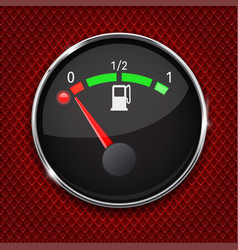 Black fuel gauge with chrome frame empty tank vector