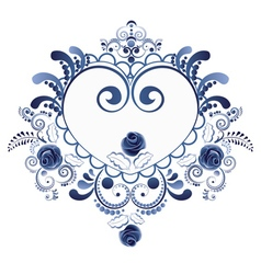 Blue floral heart6 vector