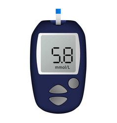 Blue glucose meter icon realistic style vector