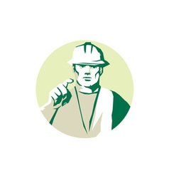 Builder Construction Worker Pointing Finger vector