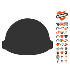 Builder helmet icon with valentine bonus vector