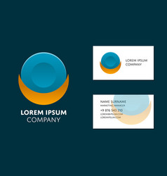Business card template with circle logo vector