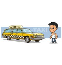 cartoon boy character with yellow retro taxi car vector image